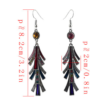 E-4616 7 Colors Ladies Silver Metal Rhinestone Statement Earrings for Women Wedding Party Jewelry