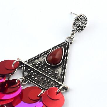 E-4613 5 Colors Fashion Bohemian Silver Alloy Sequins Drop Dangle Earrings Women Jewelry