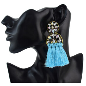 E-4620 New Fashion Fringe Tassel Crystal Long Drop Statement Earrings for Women Wedding Party Jewelry