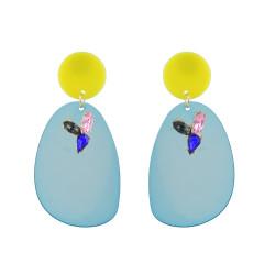E-4618 Fashion Bright Shine Drop Earrings Acrylic Big Pendant Crystal Earring Valentine's Day Gift