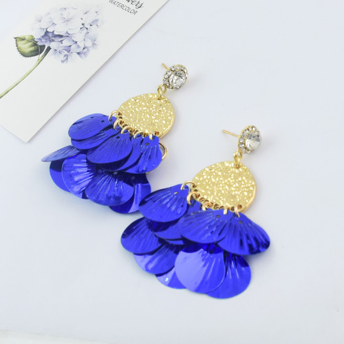 E-4619 5 Colors Trendy Bohemian Alloy Sequins Drop Dangle Earrings Party Jewelry