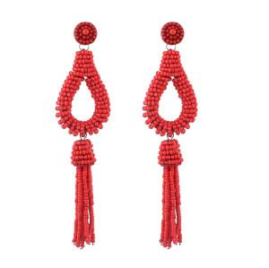 E-4626 Bohemian Drop Earrings Fringe Pendant Beaded Earring Stud