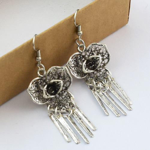 E-4621 New Fashion Silver Plated Alloy  Flower Shape Tassel Earrings For Women Jewelry