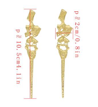 E-4629 Fashion Silver Gold Metal Geometric Shape Long Drop Earrings for Women Wedding Party Jewelry