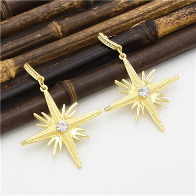 E-4628 2 Colors Trendy Rhinestone  Alloy Star Pendant Earrings For Women Jewelry