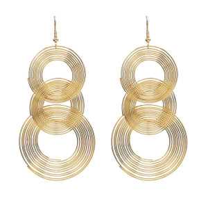 E-4543 Fashion Personality Night Club Long Gold Geometric Circle Drop Earrings Stud Earring for Women