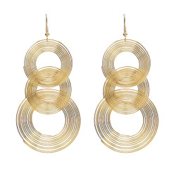 E-4543 Fashion Personality Night Club Long Gold Geometric Circle Drop Earrings Stud Earring for Women