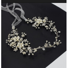 F-0485 Bridal Long Ribbon Copper Crystal Pearl Headbands Wedding Hair Jewelry Accessories