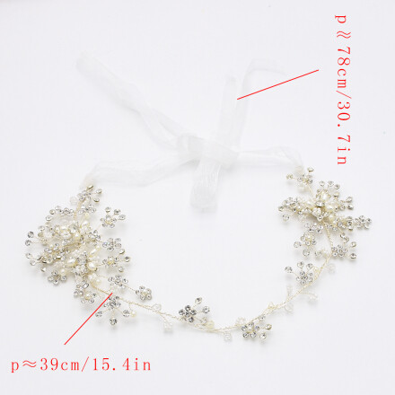 F-0485 Bridal Long Ribbon Copper Crystal Pearl Headbands Wedding Hair Jewelry Accessories