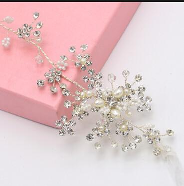 F-0493 Luxury Copper Crystal Pearl Headband Wedding Bridal Hair Jewelry Accessories