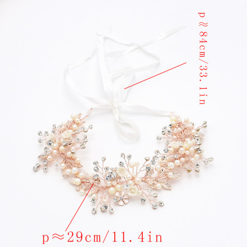 F-0487 2 Colors Fashion Ribbon Copper Wire Crystal Pearl Handmade Wedding Hair Accessory