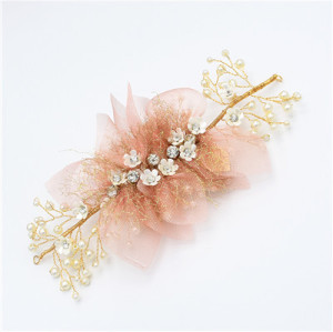 F-0486 Trendy Pearl Rhinestone Metal Silk Flower Head Ornaments For Women