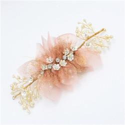 F-0486 Trendy Pearl Rhinestone Metal Silk Flower Head Ornaments For Women