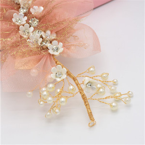 F-0486 * Trendy Pearl Rhinestone Metal Silk Flower Head Ornaments For Women