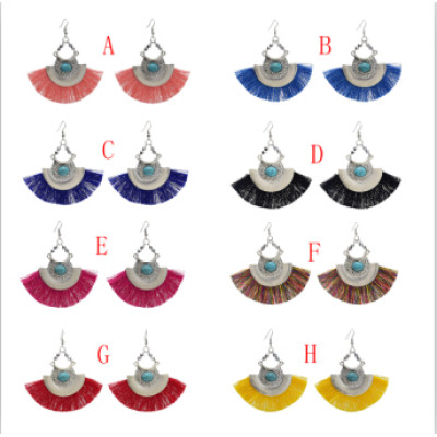 E-4635 8 Colors New Fashion Silver Plated Alloy Acrylic Crystal  Fan Shaped Earrings For Women Charms Jewelry Accessory