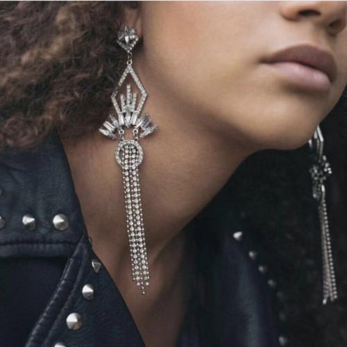E-4499 2 Colors Luxury Fashion Silver Gold Metal Rhinestone Crystal of Jewelry Making Beaded Alloy Tassel Earrings