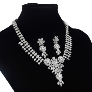 N-7048 Elegant 3A Zircon Bride Weeding Party Necklace Earring Jewelry Set