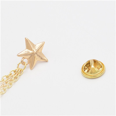 P-0399 2 Colors 8-Pointed Star Metal Fashion Brooch For Party