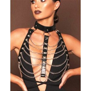 N-6981 Sexy Women Black Brown Leather Bondage Straps Bra Body Harness Belt Silver Chain Body Jewelry