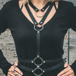 N-7054 Fashion Women PU Black Leather Bondage Straps Bra Body Harness Belt Body Jewelry