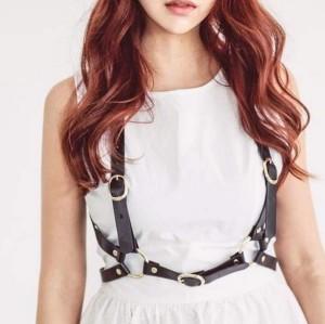 N-7055 Fashion Women PU Black Brown Leather Bondage Straps Bra Sexy Body Harness Belt Body Jewelry