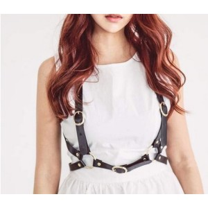 N-7055 Fashion Women PU Black Brown Leather Bondage Straps Bra Sexy Body Harness Belt Body Jewelry