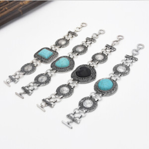 B-0891 4 Styles Vintage Silver Plated Rhinestone  Link Chain Bracelets Women Charms Cuff Hard Jewelry Classic Bangle Accessories