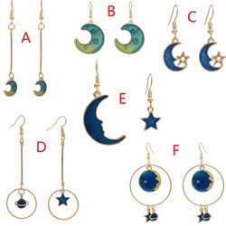 E-4636 New Fashion Gold Plated Alloy Moon Star Starry Sky Earrings For Women Jewelry