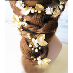 F-0488 Bridal Pearl Leaves Hairdbands Earring Sets Women Hair Pins Head Ornament Wedding Hair Jewelry