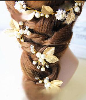 F-0488 Bridal Pearl Leaves Hairdbands Earring Sets Women Hair Pins Head Ornament Wedding Hair Jewelry