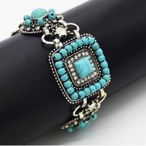 B-0889 Vintage Silver Plated Rhinestone Link Chain Bracelets Women Charms Cuff Bangle Jewelry Classic Accessories