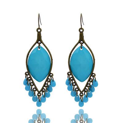 Vintage Style Blue Drip Tassel Earring E-0510