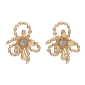E-4633 Fashion Handcraft Artificial Crystal Beaded Flower Stud Earrings