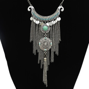 N-5345-SBL Vintage Silver Metal Rhinestone Long Tassel Pendant Necklaces for Women Bohemian Party Jewelry