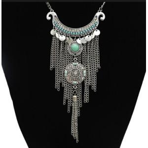 N-5345-SBL Vintage Silver Metal Rhinestone Long Tassel Pendant Necklaces for Women Bohemian Party Jewelry