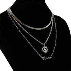 N-7057 Trendy Silver-Plated  3 Layers Love  Chain Necklace Jewelry Design For Women