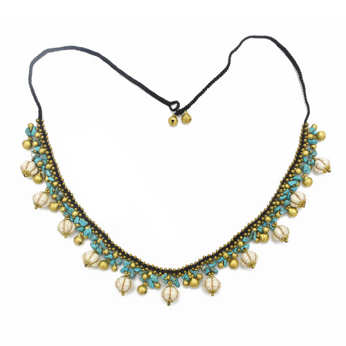 N-7058 Handmade Beaded Woven Bohemia Copper Bells Tassel Turquoise Waist Chain Rope Belly Chain