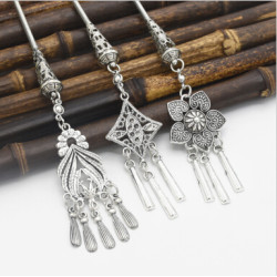 F-0490 3 Styles Vintage Silver New Fashion Classic Metal Tassel Carved Flower Geometric Diamond Hair Sticks For Women  Jewelry Accessories