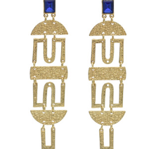 E-4637 Fashion Gold Alloy Blue Clear Rhinestone Long Drop Earrings for Women Bohemian Wedding Party Jewelry