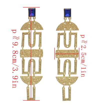E-4637 Fashion Gold Alloy Blue Clear Rhinestone Long Drop Earrings for Women Bohemian Wedding Party Jewelry