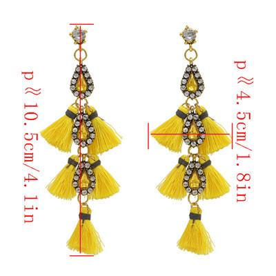 E-4639  5 Colors Trendy Bohemian Style  Rhinestone Tassel Women Earrings For Party