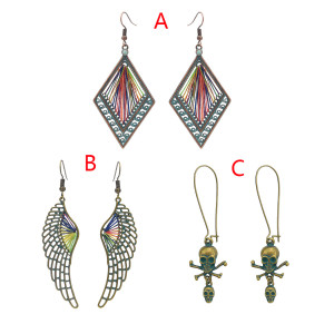 E-4641  3 Different Style Trendy Bohemian  Geometric Skull Wing Fish Hook Earrings