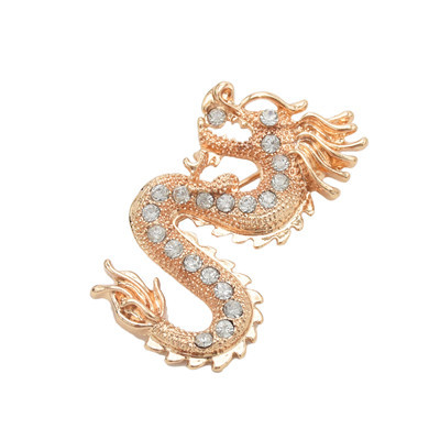 P-0401 2 Colors Trendy Metal Rhinestone Dragon Brooch Fashion Accessories