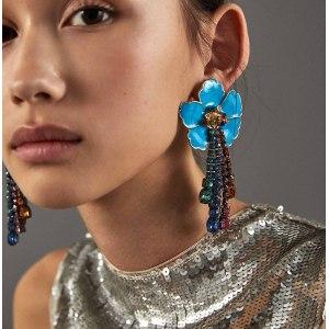 E-4644 Fashion Gold Plated Alloy Enamel Flower Rhinestone Crystal Tassel Drop Dangle Earrings