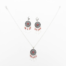 N-7059 Bohemian Earrings Necklace Jewelry Set Silver Plated Alloy Ethnic Carved Gemstone Tassels Earring Pendant Necklaces