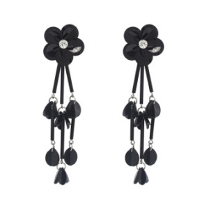 E-4642 New Fashion Black Gun Alloy Charms Fringe Flower Rhinestone Crystal Sequins Tassel Drop Dangle Earrings Women Engagement Jewelry