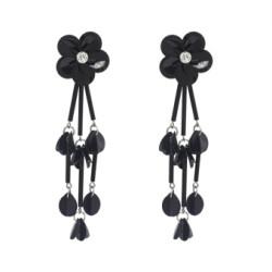 E-4642 New Fashion Black Gun Alloy Charms Fringe Flower Rhinestone Crystal Sequins Tassel Drop Dangle Earrings Women Engagement Jewelry