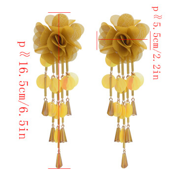 E-4645 6 Colors New Fashion Trendy Fabric Lace Flower Stud Charms Fringed Resin Sequins Glass Tassel  Rhinestone Crystal Sequins Tassel Drop Dangle Earrings Women Engagement Jewelry