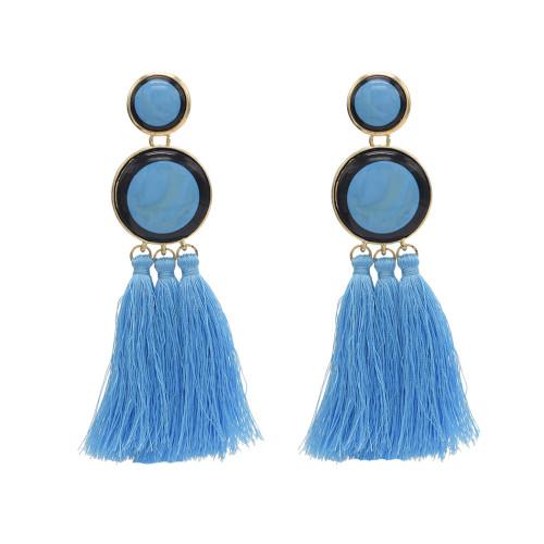 E-4646 6 Colors New Fashion Trendy Big Acrylic Button Shape Thread Tassel Dangle Earrings