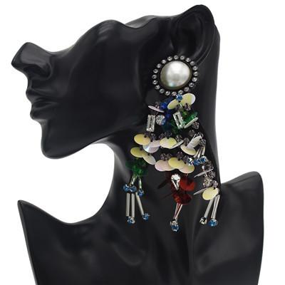 E-4649 Trendy Unique Big Pearl Rhinestone Plastic Thin Slice Jewelry Design